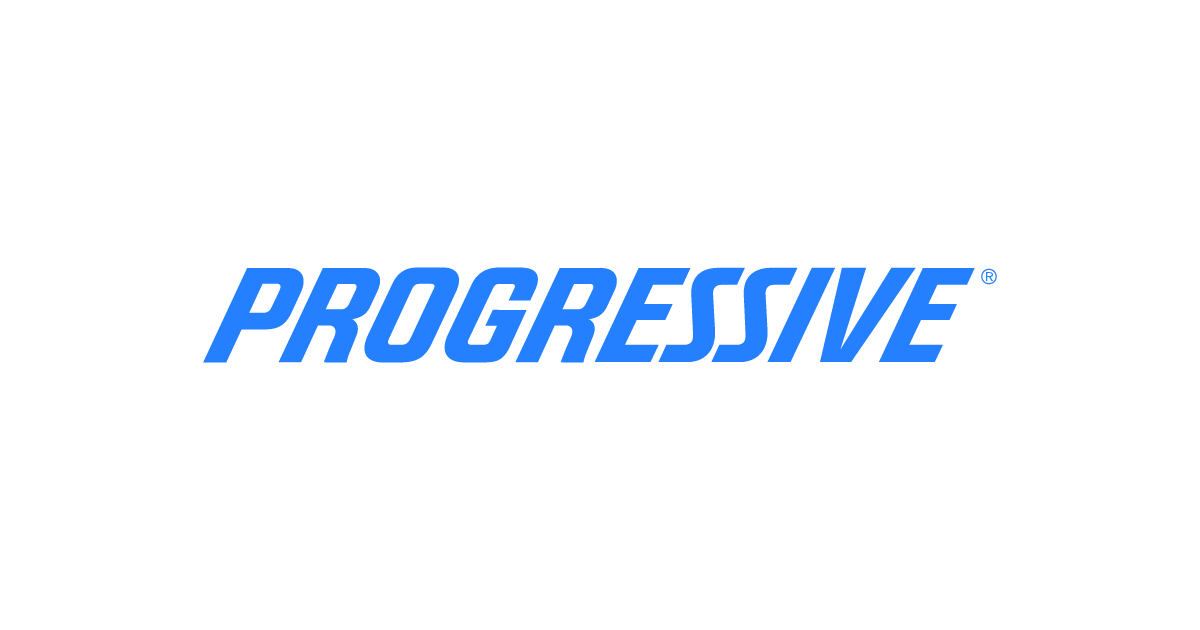 image shows a white backround with the word Progressive