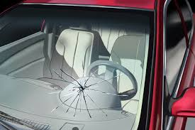 image shows car windshield cracked
