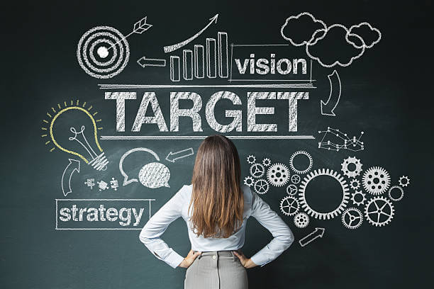 image shows woman thinking out her target goal