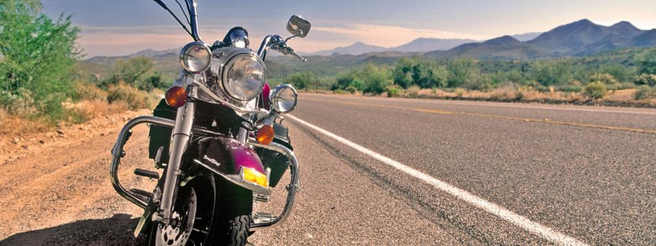 image shows motorcycle on the roads of AZ