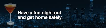 image shows an alcoholic beverage with the words Have a fun night out and get home safely