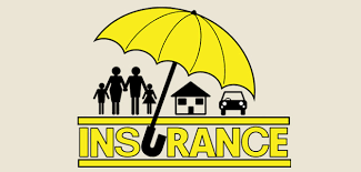 image shows yellow umbrella covering items like home, car and people