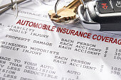image depicts an auto insurance declaration page with car keys