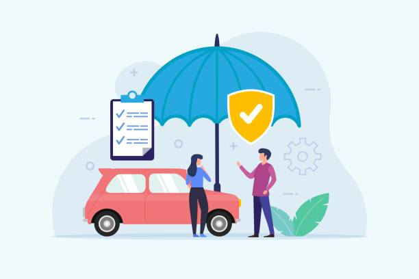 Car Insurance design concept with umbrella protection