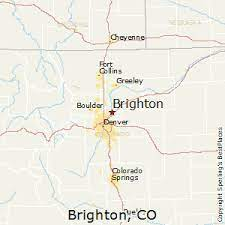 image shows a map starring Brighton, CO