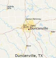 image shows map starring Duncanville, TX