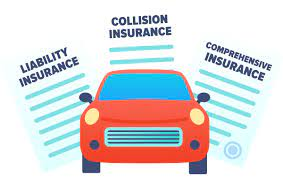 Picture of car with words - collision insurance, comprehensive insurance