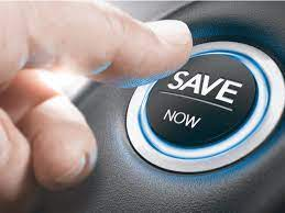 Finger Pressing The Save Now Button To Car On Car Insurance