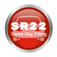 red button with the words SR22 same day filing