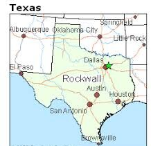 image shows map starring Rockwall Texas