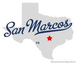 image shows texas with star on San Marcos